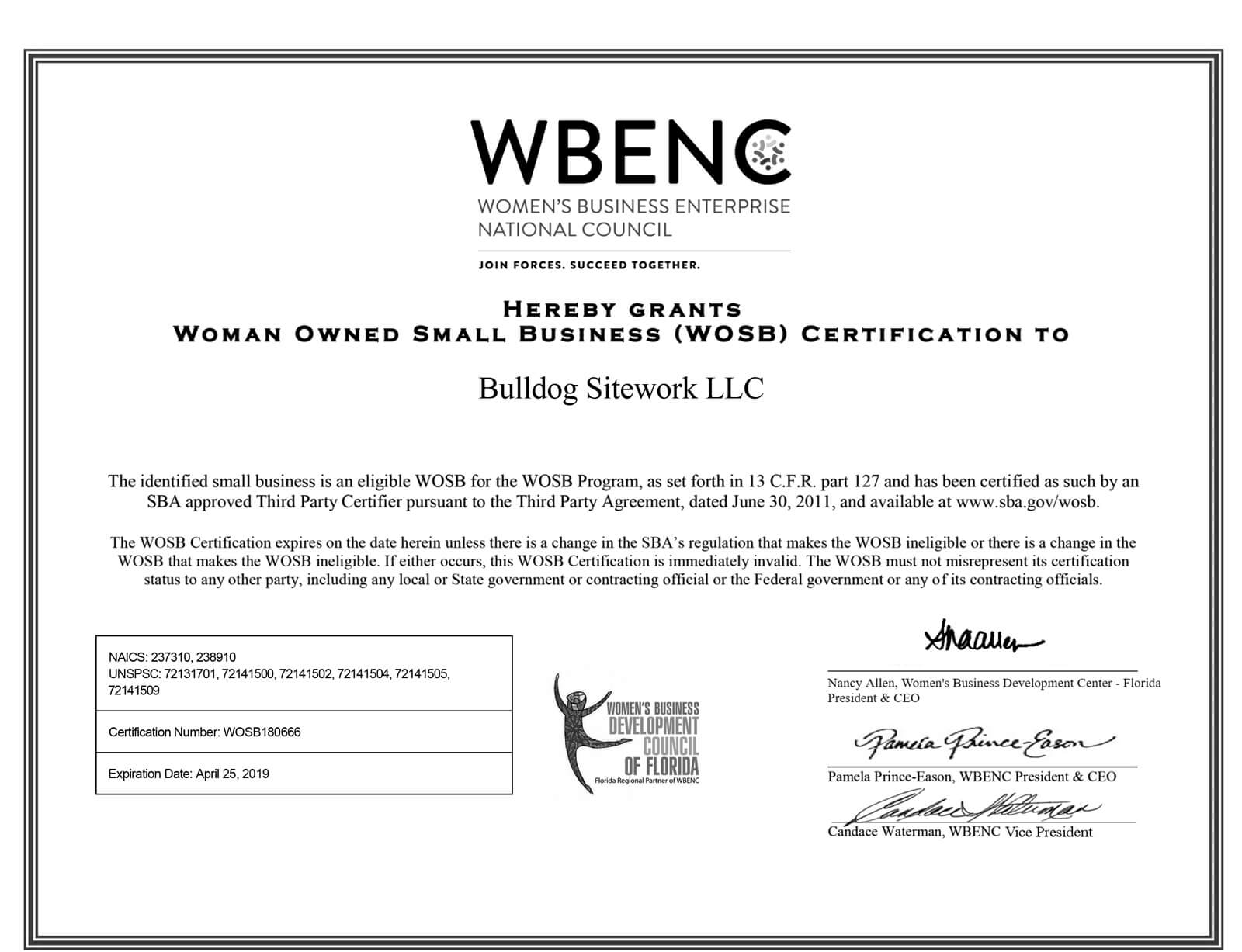 Certifications | Bulldog Sitework LLC